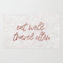 eat well, travel often Rug