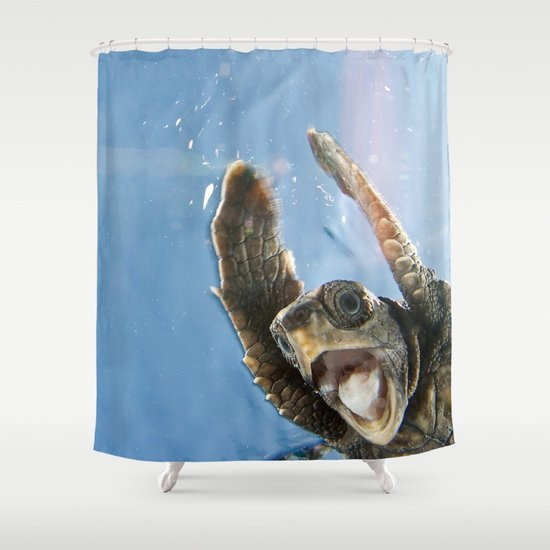 Screaming Turtle Shower Curtain - Screaming Turtle Shower Curtain By Eric Cheng Society6