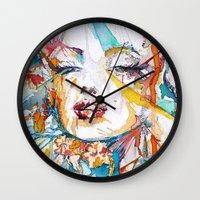 marylin monroe Wall Clocks featuring Marylin Monroe by Maria Zborovska