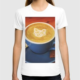 Coffee and Cats-A cat face in a coffee design T-shirt