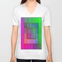 aperture V-neck T-shirts featuring Aperture #1 Fractal Pleat Texture Colorful Design by CAP Artwork & Design