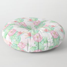 Tropical flowers and leaves watercolor Floor Pillow