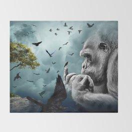 Gorilla discovers crows by GEN Z Throw Blanket