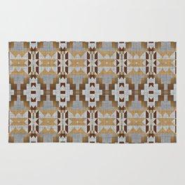 Brown Taupe Tan Gray Native American Indian Mosaic Pattern Rug