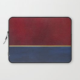 Deep Blue, Red And Gold Abstract Painting Laptop Sleeve