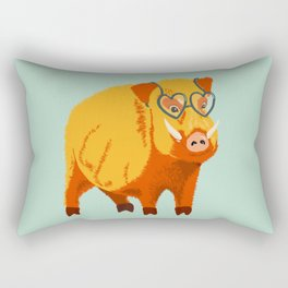 Benevolent Funny Boar Pig Rectangular Pillow