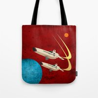 battlestar galactica Tote Bags featuring Galactica by Tony Vazquez