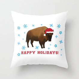 Happy Holidays Bison Throw Pillow