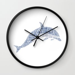 Dolphin illustrated with cities of Florida State USA Wall Clock