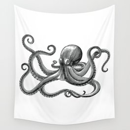 Octopus Black and White Wall Tapestry