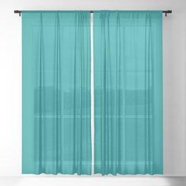 Solid Color Pantone Viridian Green 17-5126 Blue Aqua Sheer Curtain