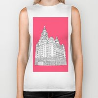 liverpool Biker Tanks featuring Liverpool Liver Building  by sarah illustration