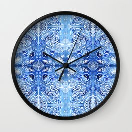 Blue and White Batik Pattern Wall Clock