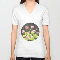 lotus flower V-neck T-shirts featuring Lotus by Carla Adol