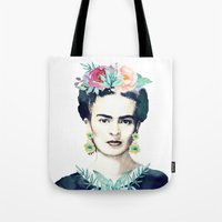 frida kahlo Tote Bags featuring Frida Kahlo  by South Pacific Prints
