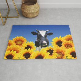 Cow black and white with sunflowers Rug