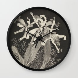 Orchid Flowers Black and White Vintage Print Wall Clock