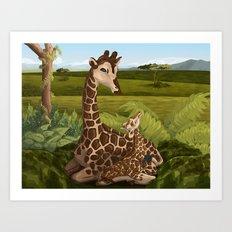 Giraffes, A Mother's love Art Print