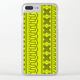 Bright Yellow Modern Mudcloth Faux Stitches Print Clear iPhone Case