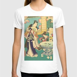 Spring Outing In A Villa Diptych #1 by Toyohara Kunichika T-shirt