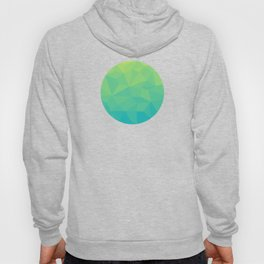 Abstract Geometric Gradient Pattern between Soft Green and Strong Cyan Hoody