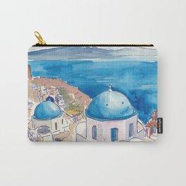 Santorini Oia View Mediterranean Dream Carry-All Pouch