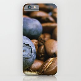 Coffee beans with American blueberries iPhone Case