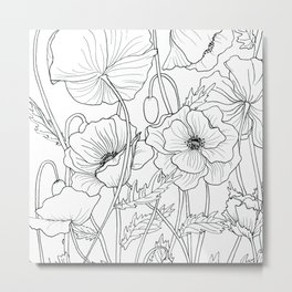 Poppies Line Drawing Metal Print