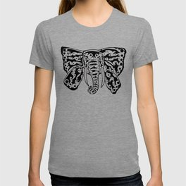 Black and White Elephant Butterfly Tribal Tattoo T-shirt