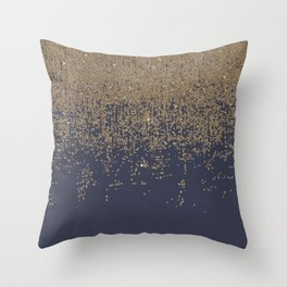 Navy Blue Gold Sparkly Glitter Ombre Throw Pillow