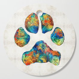 Colorful Dog Paw Print by Sharon Cummings Cutting Board