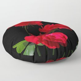 Red roses on black background Floor Pillow