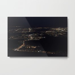 Fort Myers at night, taken from my window seat on the plane back from Ohio. Metal Print