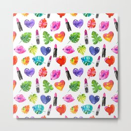 Cute colorful watercolor with lipsticks lips palm leaves Metal Print
