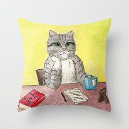 Pause for thought (El gato escritor) Throw Pillow