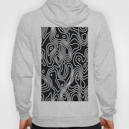 Abstract Topography Black and White Print  Hoody