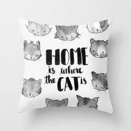 HOME is where the CAT is - black and white Throw Pillow