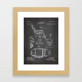 Barbers Chair Patent - Barber Art - Black Chalkboard Framed Art Print