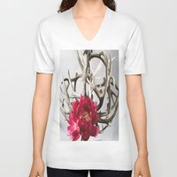 antler V-neck T-shirts featuring Antler Flower by Jodi Kassowitz Photography