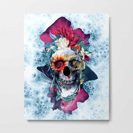 Floral Skull Blue Metal Print