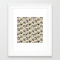 pandas Framed Art Prints featuring Pandas by Olya Yang