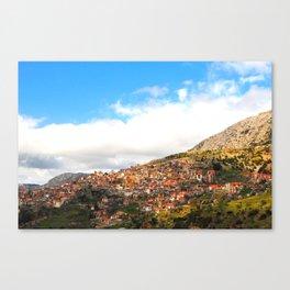 Hilltop Village - Greece Canvas Print