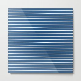 Colorful Stripes, Blue and White, Abstract Art Metal Print
