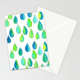 Cherish All of Your Tears blue green pattern tears illustration watercolor inspirational words Stationery Cards