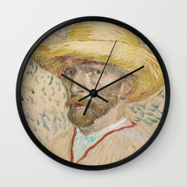 Vincent van Gogh - Self-portrait with straw hat Wall Clock