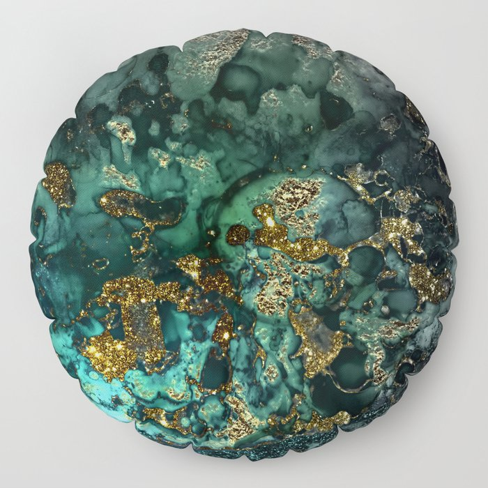 Gold Indigo Malachite Marble Floor Pillow