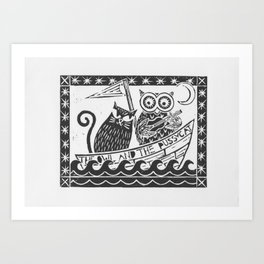 The Owl And The Pussycat (white background) Art Print
