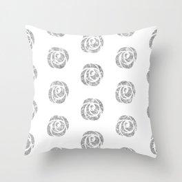 Silver Pattern Neck Gaiter Roses Silver Neck Gator Throw Pillow