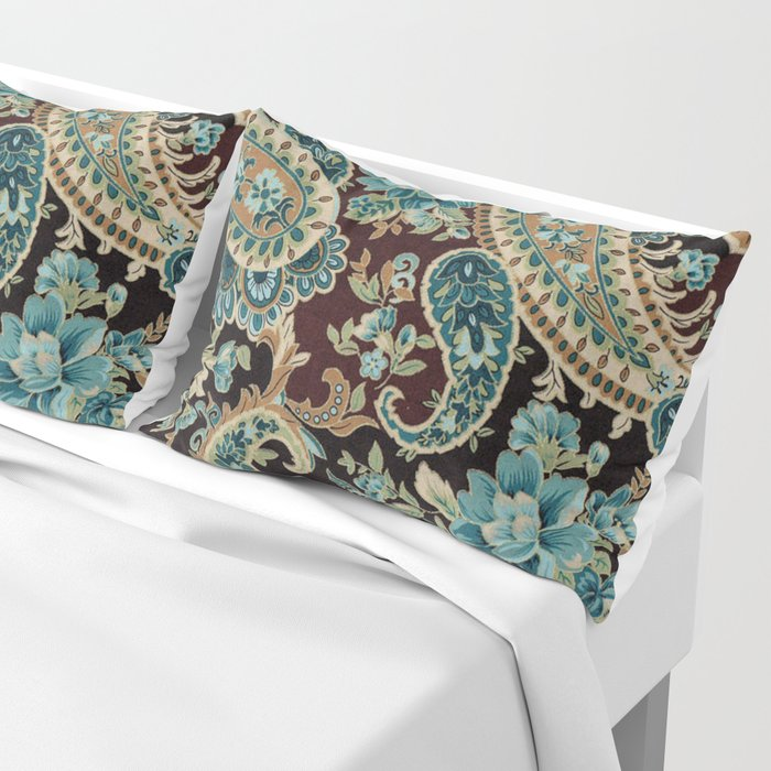 Brown Turquoise Paisley Pillow Sham