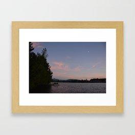 Lake Placid Mirror Lake Sunset Framed Art Print